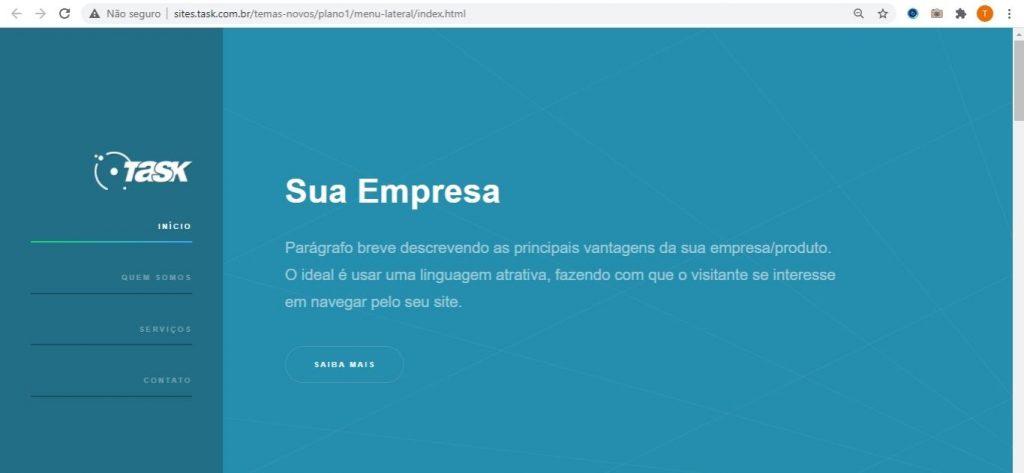 Exemplo menu lateral Tasksite