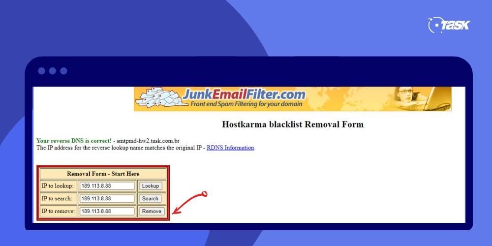 Como retirar IP de blacklist - Passo 3